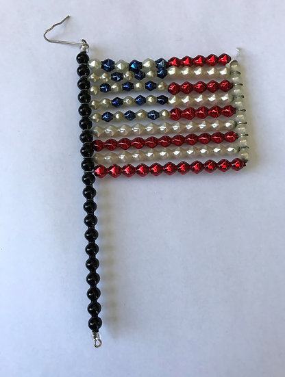 "Czech Glass ""American Flag"" Beaded Christmas Ornament"