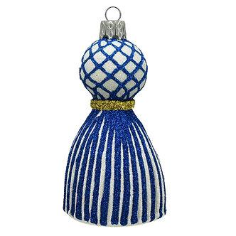 """#1656B/W - Thomas Glenn """"Blue and White Tassel"""" Ornament"""