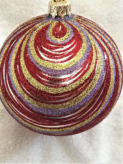 "#368RGP - Thomas Glenn ""Red Gold & Purple Swirl"" Ball Christmas Ornament"