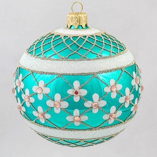 "#635TQ - Thomas Glenn ""Turquoise Coronation"" Ball Ornament"