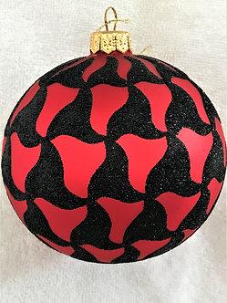 "#515R-BK - Thomas Glenn ""Scallop - Red & Black"" Ball Christmas Ornament"