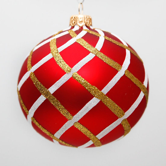 "#1517R - Thomas Glenn ""Lattice - Red"" Ball Christmas Ornament"