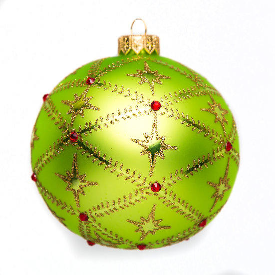 "#716L - Thomas Glenn ""Stars on Lime Green"" Ball Ornament"