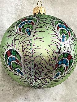 "#605TQ - Thomas Glenn ""Peacock - Turquoise"" Ball Christmas Ornament"