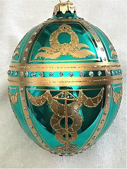 """#8TQ - Thomas Glenn """"Royal Braid on Turquoise"""" Egg Ornament"""