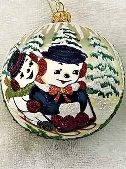 "#1784 - Thomas Glenn ""Sledding Away"" Ball Christmas Ornament"