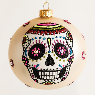 "#1883 - Thomas Glenn ""Day of the Dead Tattoo"" Ball Ornament"