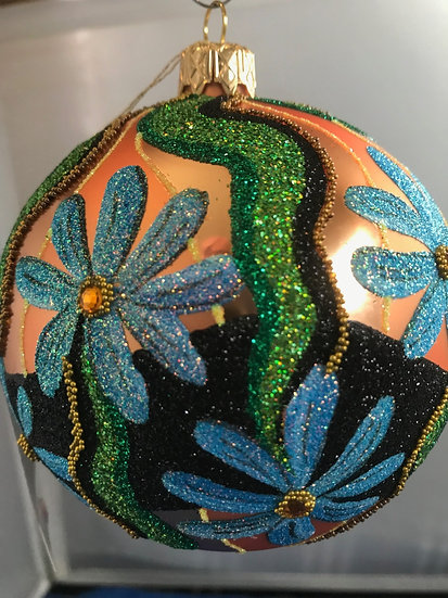 """#625C - Thomas Glenn """"Blue Flower on Copper"""" Ball Ornament"""