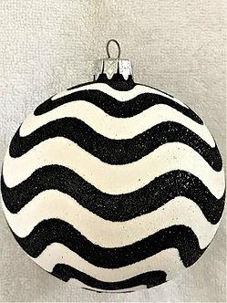 "#516 - Thomas Glenn ""Wave - Black & White"" Ball Christmas Ornament"