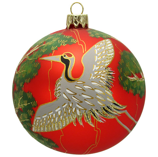 "#505R - Thomas Glenn ""Crane on Red Ball"" Ornament"