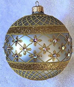 "#635SIL - Thomas Glenn ""Coronation - Silver"" Ball Ornament"