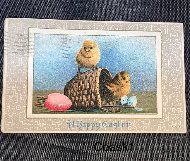 Vintage Easter Postcard - Chicks in a Basket