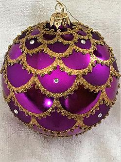 "#715PUR - Thomas Glenn ""Gold Swag on Purple"" Ball Christmas Ornament"
