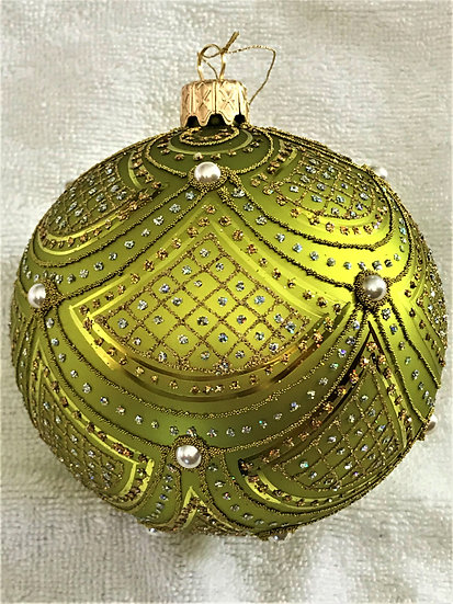 "#633L - Thomas Glenn ""Scallop - Lime"" Ball Christmas Ornament"