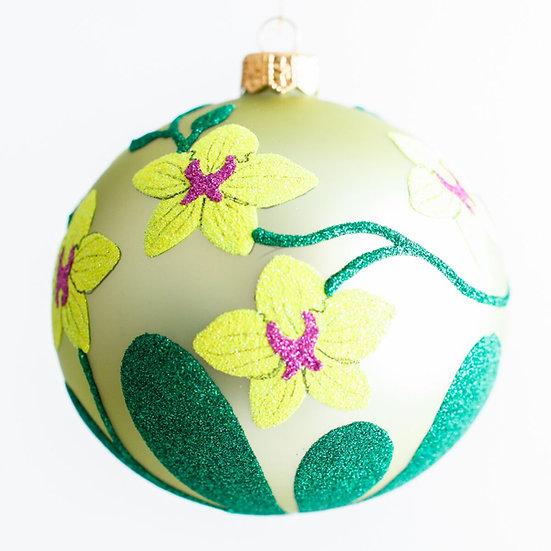"#1940 - Thomas Glenn ""Orchids"" Ball Ornament"
