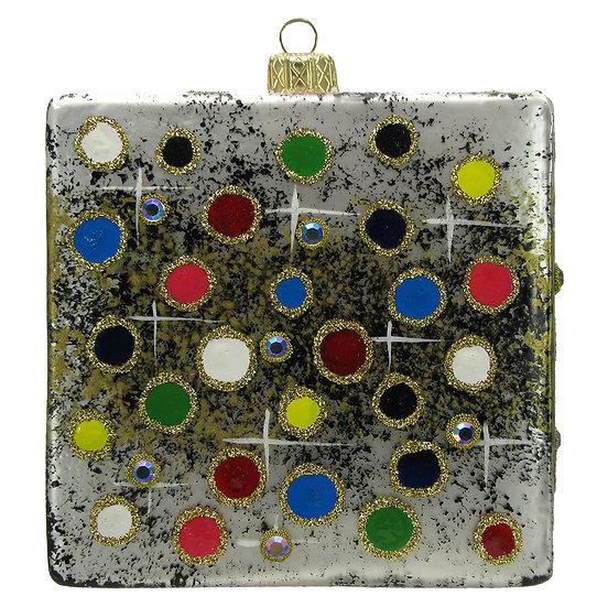 "#203C - Thomas Glenn ""Dots on Black"" Cube Ornament"