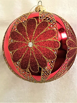 "#18-Ball - Thomas Glenn ""Red Ball with Gold Flowers"" Ball Christmas Ornament"