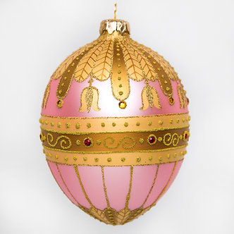 "#530PK - Thomas Glenn ""Pink Bell Flower"" Faberge Egg Ornament"