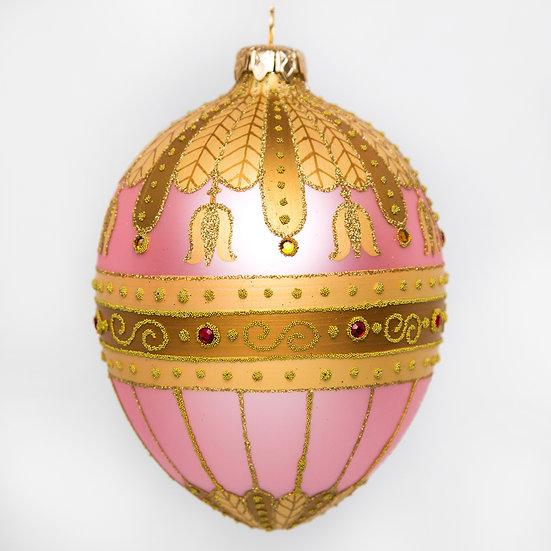"""#530PK - Thomas Glenn """"Pink Bell Flower"""" Faberge Egg Ornament"""