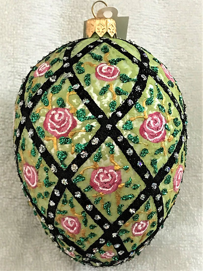 "#54 - Thomas Glenn ""Rose Trellis - Green"" Egg Christmas Ornament"