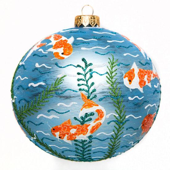 """#1595 - Thomas Glenn """"Koi Pond"""" Ball Ornament"""