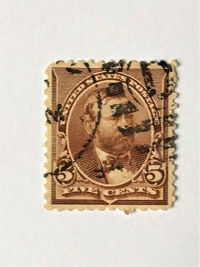 """Stamps """"US 1890-93 Grant Scott #223"""" 5c chocolate"""