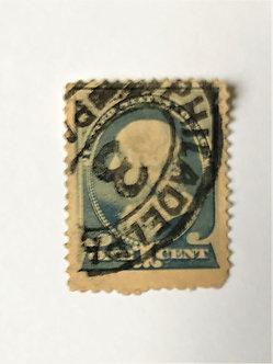 "Stamps ""US 1887 Franklin Scott #212"" 1c ultramarine"