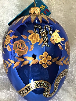 """#33OBL - Thomas Glenn """"Egg Snake Blue"""" Egg Christmas Ornament"""