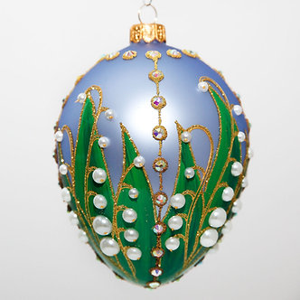 "#319LB - Thomas Glenn ""Lily of the Valley - Light Blue"" Faberge Egg Ornament"