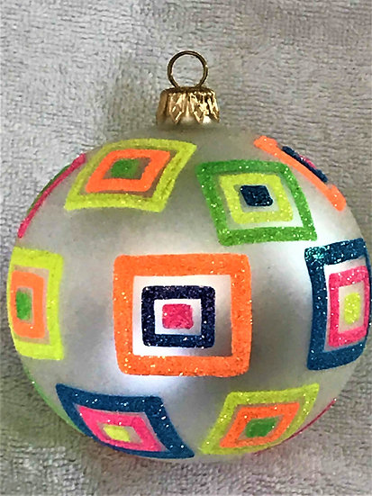 "#749 - Thomas Glenn ""Multi Squares on Matte"" Ball Christmas Ornament"