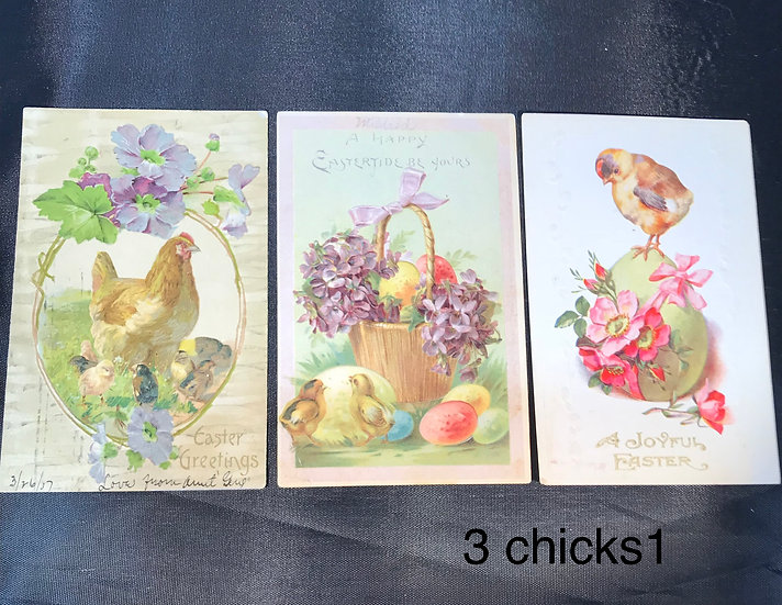 Vintage Easter Postcards with Chicks - 3 cards