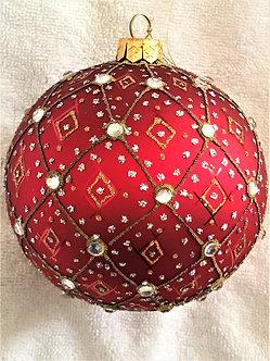 """#395R - Thomas Glenn """"Aurora - Red"""" Ball Christmas Ornament"""
