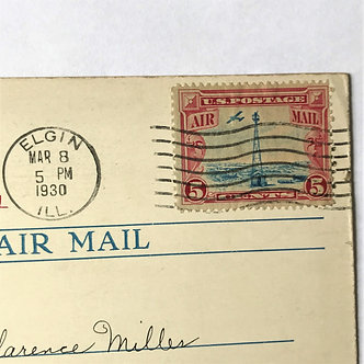 """Stamps - US Covers - """"C11 First Flight Photo Card"""" 1930 Elgin, Illinois"""