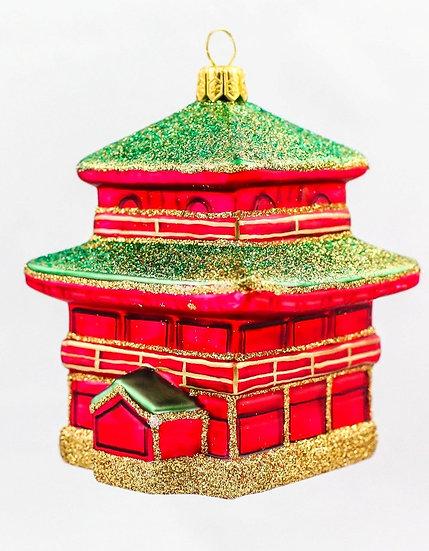 "#511 - Thomas Glenn ""Small Red and Green Pagoda"" Molded Ornament"