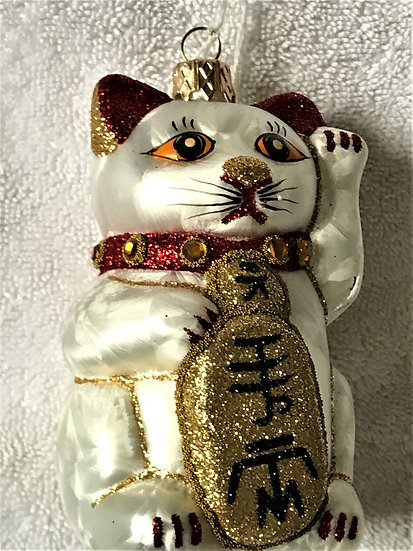 "#1006 - Thomas Glenn ""Good Luck Cat"" Molded Christmas Ornament"