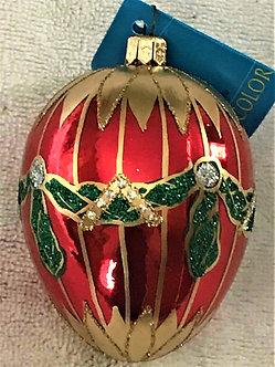 "#43OR - Thomas Glenn ""Medium Egg - Orange with Swag"" Egg Christmas Ornament"