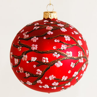 "#1643R - Thomas Glenn ""Plum Blossom on Red"" Ball Ornament"