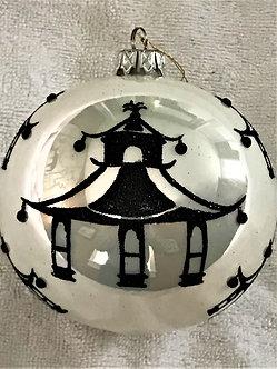 "#740BK - Thomas Glenn ""Modern Pagoda - Black & White"" Ball Christmas Ornament"