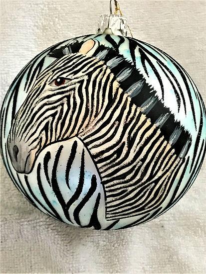 """#628BK - Thomas Glenn """"Zebra - Natural Black"""" Ball Christmas Ornament"""