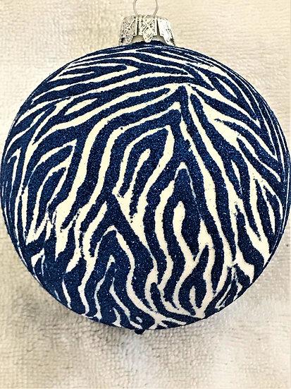 "#719BL - Thomas Glenn ""Zebra Stripes - Blue"" Ball Christmas Ornament"