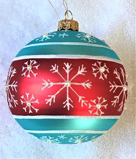 "#1960 - Thomas Glenn ""Snowfall Pearl - Blue and Red"" Ball Ornament"
