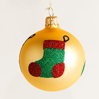 "#1874 - Thomas Glenn ""Stockings"" Mini Ball Ornament"