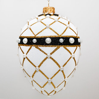"#2080 - Thomas Glenn ""Banded Egg - White"" Faberge Egg Christmas Ornament"
