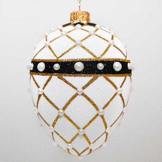 """#2080 - Thomas Glenn """"Banded Egg - White"""" Faberge Egg Christmas Ornament"""