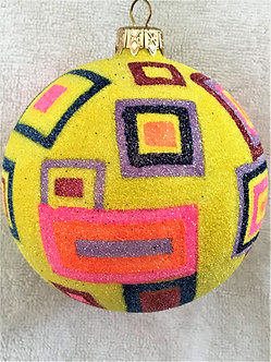 "#520 - Thomas Glenn ""Yellow Glitter with Squares"" Ball Christmas Ornament"