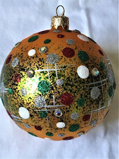 "#253 - Thomas Glenn ""Dots on Gold"" Ball Christmas Ornament"