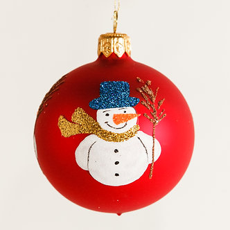 "#1876 - Thomas Glenn ""Snowman"" Mini Ball Ornament"