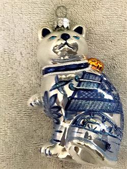 "#512 - Thomas Glenn ""Cat - Blue & White"" Molded Christmas Ornament"