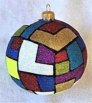 "#1909 - Thomas Glenn ""Patchwork"" Ball Ornament"