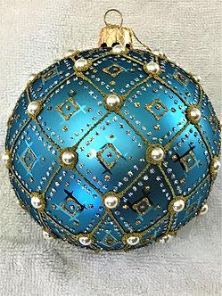 "#634LTB-O - Thomas Glenn ""Pearl - Light Blue"" Ball Christmas Ornament"